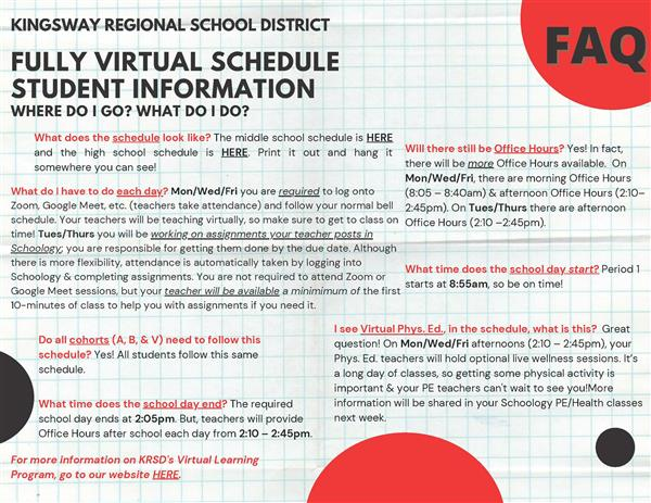 Fully Virtual Schedule Student FAQ