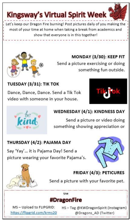 Virtual Spirit Week: March 30-April 3