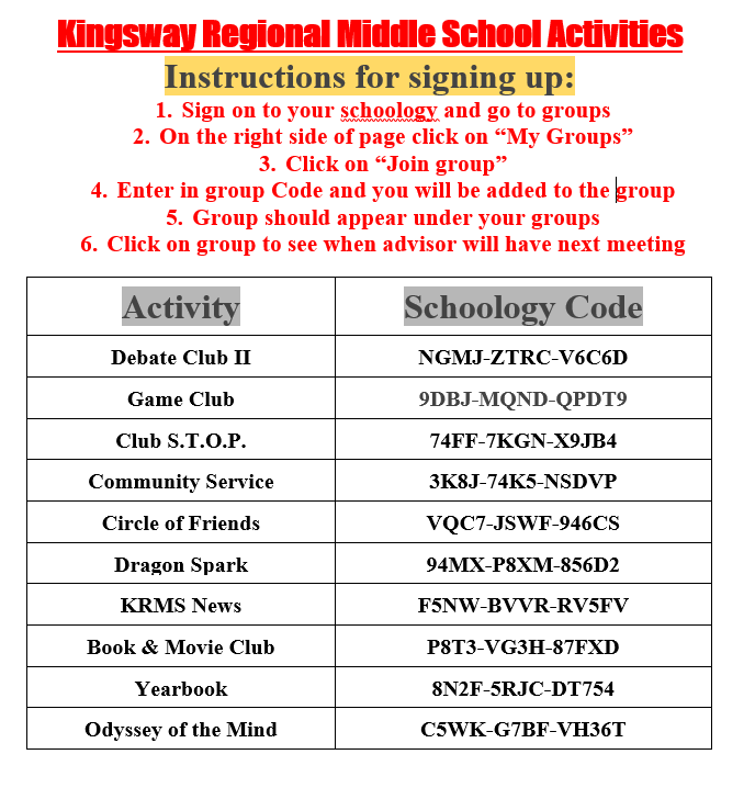 Middle School Clubs