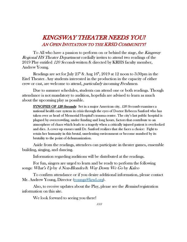 KINGSWAY THEATER NEEDS YOU!