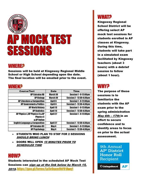 AP Test Prep Sessions Flyer