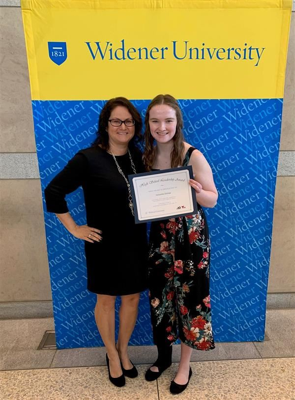 KHS Junior Recipient of the HS Leadership Award from Widener University